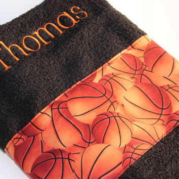 Personalized Bath Towel, Custom Towel, Basketball Towel, Embroidered Towel, Bath Towel, Bathroom