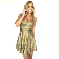 Encore Skater Dress In Gold