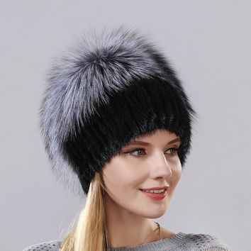New Style Hot Sale Winter Warm Real Mink Fur Cap For Women Natural Mink Hats Vertical Weaving With Fluffy Fox Fur On The Top