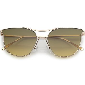 Retro Modern Wire Metal Frame Aviator Gradient Flat Lens Sunglasses A876