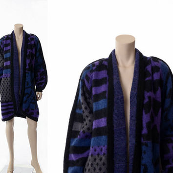 Vintage 80s Geometric Mohair Wool Jacket 1980s Oversize New Wave Deco Punk Chunky Knit Shawl Collar Batwing Sweater Grunge Boho Coat / L