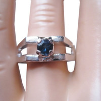 Vintage Blue Sapphire Mens Ring  Size 8 Old New Stock