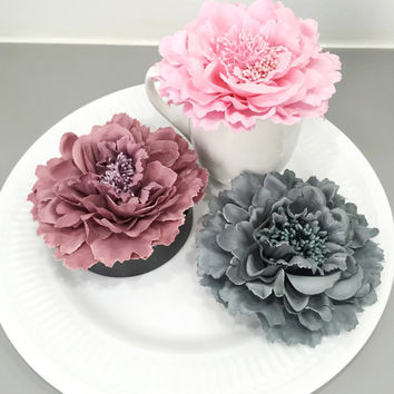 "Pick Your Color. 4.2"" Grey Dusty Pink Light Pink Romantic Artificial Peonies Flower Decor.Wedding Table Decoration.Bridal Shower Baby Shower"