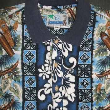 Mens Hawaiian Shirt RJC LTD Hawaii XL Polo Casual Barkcloth Camp Lounge Wood Surfboard