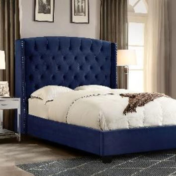 Majestic Eastern King Tufted Bed in Tan Velvet with Nail Head Wing Accents by Diamond Sofa
