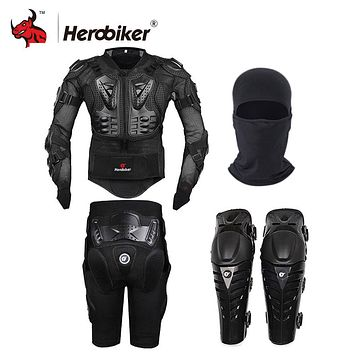 HEROBIKER Motorcycle Motocross Racing Full Body Armor Jacket + Short Pants + Knee Pads + Face Mask Protective Gear