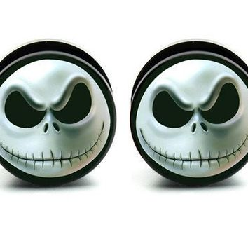 Nightmare Before Christmas Jack face ear plug gauges tunnel screw on 0G=8mm