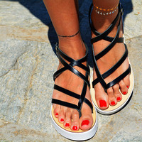 "Women Leather Sandal ""Hera"", strappy sandals, genuine leather, black sandals, Gladiator Sandals"