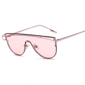 New Oversized Women Flat Top Mirror Steampunk Sunglasses
