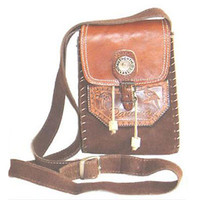 1970s Vintage Suede Tooled Leather Hippie Handbag
