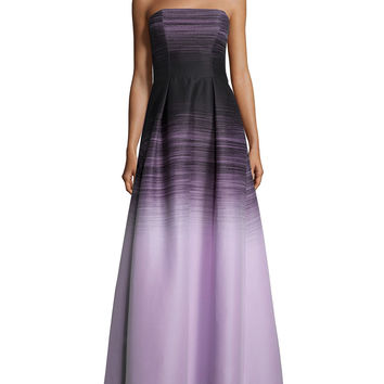 Halston Heritage Strapless Structured Ombre Gown