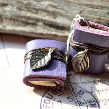 Miniature books earrings Leaves & purple leather