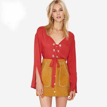 Red Deep V-Neck Lace Up Front Split Sleeves Chiffon Blouse