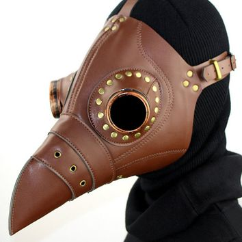 Atomic Brown Dr. Plague Bird Mask with Gold Rivets