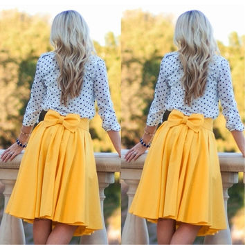 Women Fashion Sexy Summer Vintage Pleated Bow-knot Empire Waist Mini Skirt = 1932138756