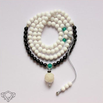 Natural White Shell & Black Agate Beaded Mala With Hand-Carved Wood Lotus Pendant
