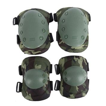 VONEML3 Tactical Military 2pcs Elbow Brace + 2pcs Knee Protective Pads Paintball Skate Airsoft Combat Elbow Support Guard Support