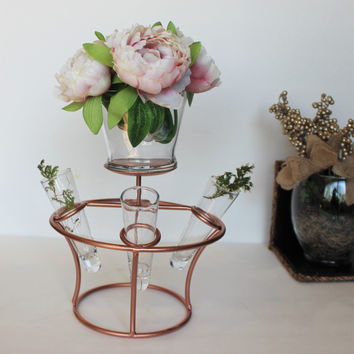 New !!Copper wire candle holder with 3 Glass vase design . Modern Design candle holder or a vase Holder.Copper candle holder home decor