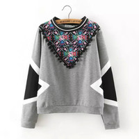 Gray Floral Print Long Sleeve Tassel  Pullover Sweatershirt