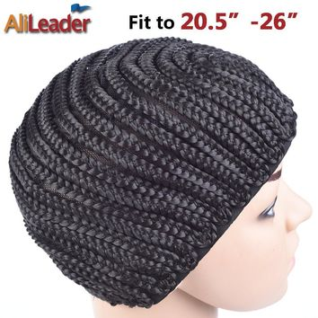 10Pcs Easier Sew black Cornrow Braids Crochet Wig Caps For Making Wigs Full Lace Wigs Cap Elastic Weaving Net Mesh Caps For Wigs
