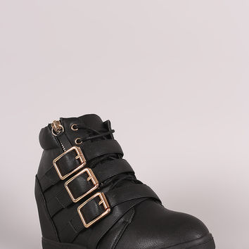 Multi Buckle Strap Lace Up Round Toe High Top Wedge Sneaker