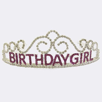 CRYSTAL LINED HAPPY BIRTHDAY GIRL CROWN TIARA