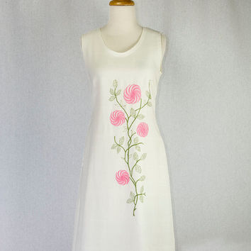 Vintage 1960s Shift Dress Mod Pink Embroidered Flowers Adorable