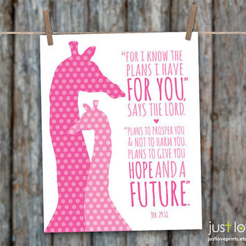 For I Know The Plans I Have For You - Jeremiah 29:11 - 8x10 Print  - Christian Scripture Nursery Art