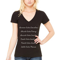 "Gilmore Girls ""Dress like Lorelai, Think Like Rory, Drink Like Emily, Cook Like Sookie, Rock Like Lane, Talk Like Paris"" Women's V-Neck T-Shirt"