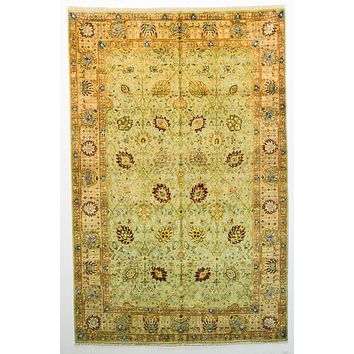 Oriental Lavar Silk and Wool Oriental Rug, Light Green/Beige