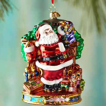 Straight to Work Santa Christmas Ornament - Christopher Radko
