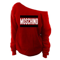 Moschino Off The Shoulder Slouchy Oversized Sweatshirt