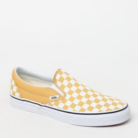 Vans Classic Checkerboard Gold and White Slip-On Shoes at PacSun.com