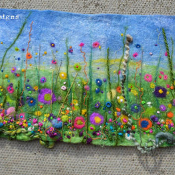Handmade original colourful textural custom framed wet felt and 3d embroidery wild flowers in a meadow picture. Unique vibrant ooak