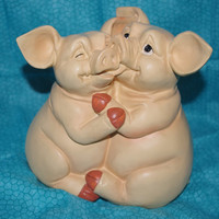 Vintage Darling Coin Bank of Two Little Pigs Hugging