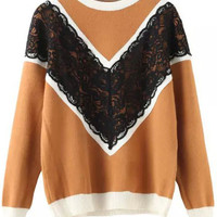 Khaki Lace Embroidered Knit Long Sleeve Sweater