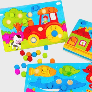 Baby Kids Wooden Children Educational Toy Cartoon Puzzle Board Infant Child Toy