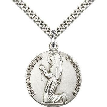 "Saint Bernadette Medal For Men - .925 Sterling Silver Necklace On 24"" Chain -... 617759868791"