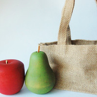 Eco Friendly - Waldorf -Realistic Wooden Pretend Play Food - FALL FRUIT and Shopping Bag -