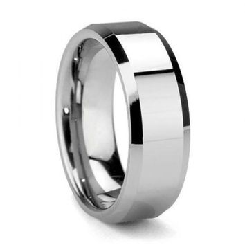 Men's White Tungsten Carbide Wedding Band
