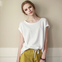 Short Cap Sleeve Loose Long T-Shirt