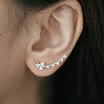 CZ Ear Climber, Ear Climber, Ear Climber Earrings, Crystal Ear Climber, Ear Sweep, Ear Crawler, Ear Cuff, CZ Ear Climber, CZ Ear Sweep