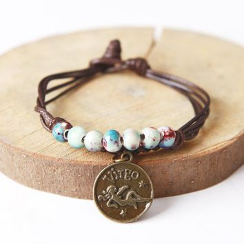 Zodiac Ceramic Beaded Charm Bracelet With Bangles