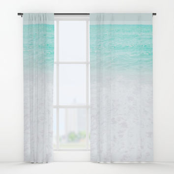 Sea foam Window Curtains by ARTbyJWP