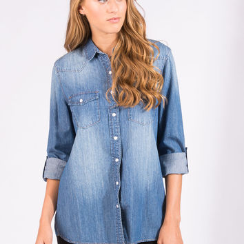 Womens Boyfriend Fit Denim Shirt
