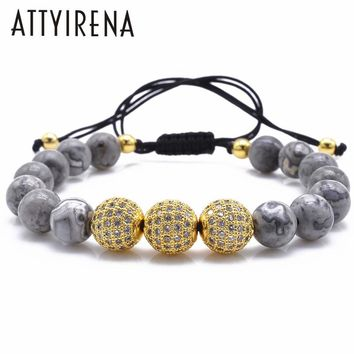 Natural Gray Map Stone Bracelet Pave CZ Charms Bracelet For Men Jewelry Natural Stone Bracelets Pulseras homme Buddha Bracelet