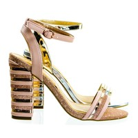 Encounter95 Stripe Stack Block Heel Dress Sandal, Metal Ribbed Detail