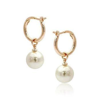 ON SALE - Moon Drops Pearl Bead Hoop Earrings In Four Colors