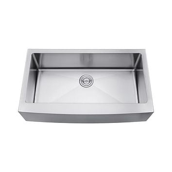 DAX-3621R10 / DAX FARMHOUSE SINGLE BOWL KITCHEN SINK, 18 GAUGE STAINLESS STEEL, BRUSHED STAINLESS STEEL FINISH