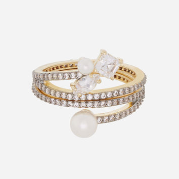 Luxe Flora Pearl Stack Ring